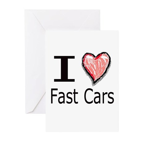 I Heart Fast Cars Greeting Cards (Pk of 10)