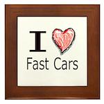 I Heart Fast Cars Framed Tile