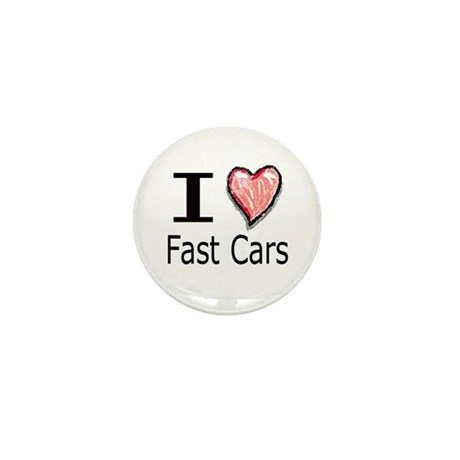 I Heart Fast Cars Mini Button (10 pack)