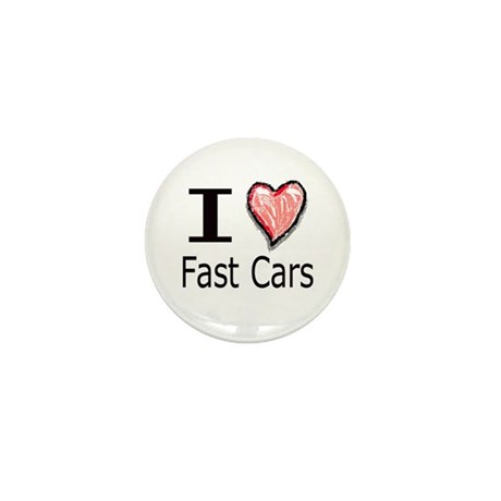 I Heart Fast Cars Mini Button