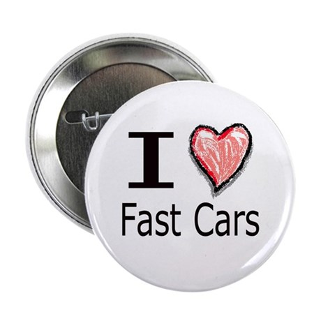 "I Heart Fast Cars 2.25"" Button (10 pack)"