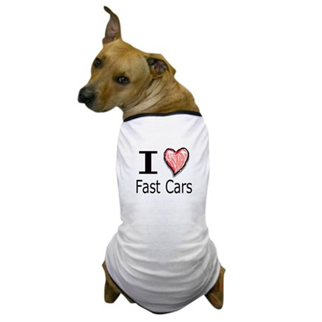 I Heart Fast Cars Dog T-Shirt