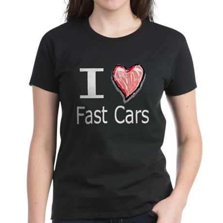 I Heart Fast Cars Women's Dark T-Shirt