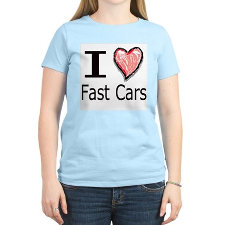I Heart Fast Cars Women's Pink T-Shirt