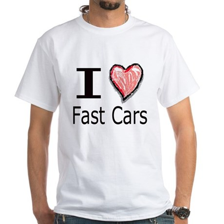 I Heart Fast Cars White T-Shirt