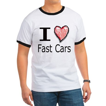 I Heart Fast Cars Ringer T