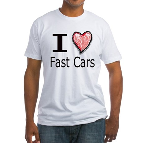 I Heart Fast Cars Fitted T-Shirt
