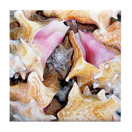 """Conch Shells"" Tile Coaster"
