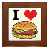 I Heart (Love) Cheeseburgers Framed Tile