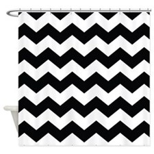 Chevron Classy Black and White Shower Curtain