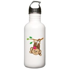 Girl Monkey Swinging From Branch Water Bottle