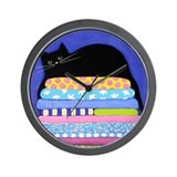 Black CAT On Quilts BLUE Art Wall Clock
