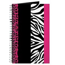 Hot Pink Animal Print Stripes Zebra Leopard Journa
