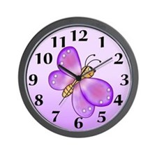 Purple Butterfly Wall Clock