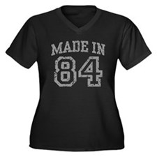 Made In 84 Women's Plus Size V-Neck Dark T-Shirt