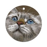 Latte Looking Up Keepsake Ornament (Round)