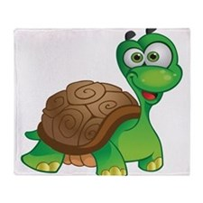Funny Cartoon Turtle Throw Blanket