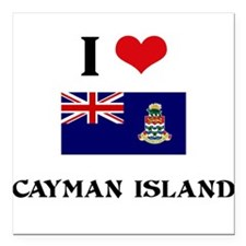 "I HEART CAYMAN ISLAND FLAG Square Car Magnet 3"" x"