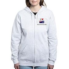 I HEART FALKLAND ISLANDS FLAG Zip Hoodie
