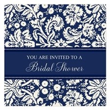 Blue Damask Bridal Shower Invitations