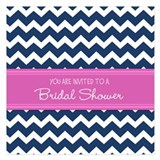 Blue pink chevron bridal shower 5.25 x 5.25 Flat Cards