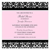 Pink damask bridal shower Invitations & Announcements