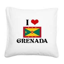 I HEART GRENADA FLAG Square Canvas Pillow