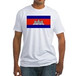 Cambodia Blank Flag Fitted T-Shirt
