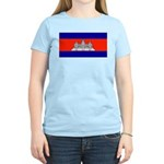 Cambodia Blank Flag Women's Pink T-Shirt