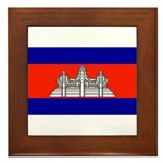Cambodia Blank Flag Framed Tile