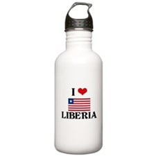 I HEART LIBERIA FLAG Water Bottle