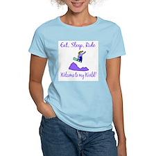 Eat, sleep, ride Women's Pink T-Shirt