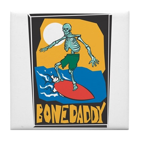 Bone Daddy Surfing Surfer Design Tile Coaster