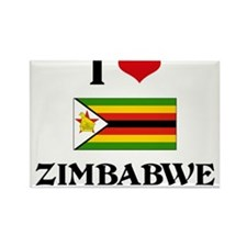 I HEART ZIMBABWE FLAG Rectangle Magnet