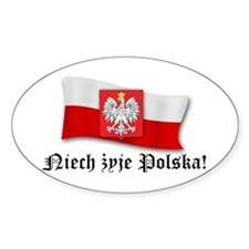 Poland flag and arms Oval Decal