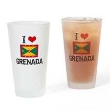 I HEART GRENADA FLAG Drinking Glass