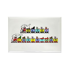 Merry Christmas Train Rectangle Magnet
