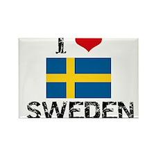 I HEART SWEDEN FLAG Rectangle Magnet