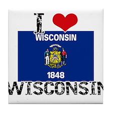 I HEART WISCONSIN FLAG Tile Coaster