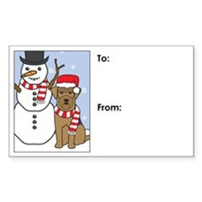 Airedale Terrier Winter Gift Tag Decal