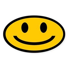 SMILEY OVAL STICKERS Oval Decal
