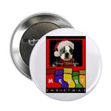 MERRY CHRISTMAS BOSTON TERRIER LOOK Button