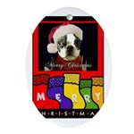 MERRY CHRISTMAS BOSTON TERRIER LOOK Ornament (Oval