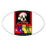 MERRY CHRISTMAS BOSTON TERRIER LOOK Oval Sticker