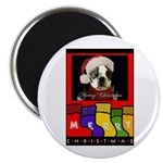 MERRY CHRISTMAS BOSTON TERRIER LOOK Magnet