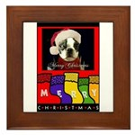 MERRY CHRISTMAS BOSTON TERRIER LOOK Framed Tile
