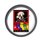 MERRY CHRISTMAS BOSTON TERRIER LOOK Wall Clock