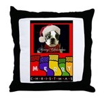 MERRY CHRISTMAS BOSTON TERRIER LOOK Throw Pillow