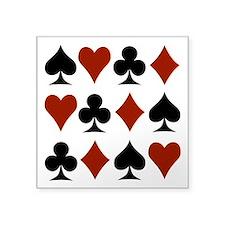 "Playing Card Symbols Square Sticker 3"" x 3"""