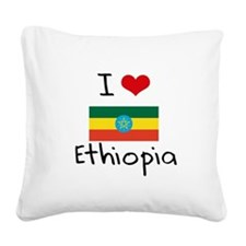 I HEART ETHIOPIA FLAG Square Canvas Pillow